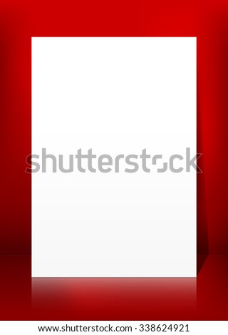Vertical Blank White Vector Paper Panel on Red Background Template - Empty Christmas Season  Greeting Card Backdrop for Your Own Design. XMas - X-Mas, Billboard, Placard and Advertising Space. - stock vector