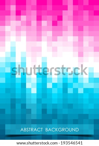 Vertical blue, white and pink mosaic music party background with place for text.  Vector version. - stock vector