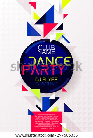 Vertical bright music party background with colorful graphic elements and place for text.  Vector illustration. - stock vector