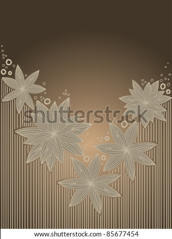 Vertical brown background with hand-drawn flowers - stock vector