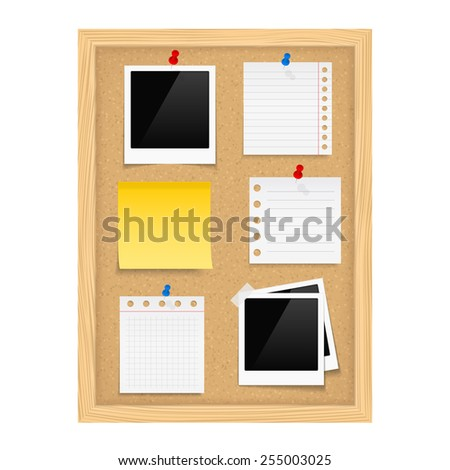 Vertical bulletin board with photo frames and paper notes, vector eps10 illustration - stock vector