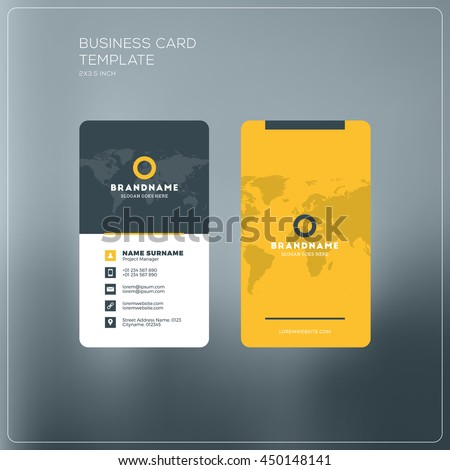 Vertical Business Card Print Template Personal Stock Vector - Horizontal business card template