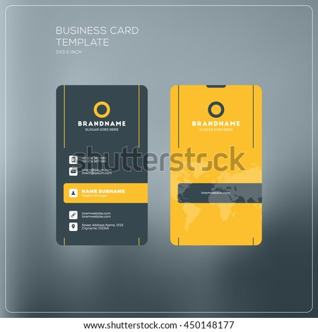 Vertical business card print template personal stock photo photo vertical business card print template personal business card with company logo black and yellow flashek Gallery