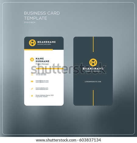 Vertical Business Card Print Template Personal Stock Vector ...