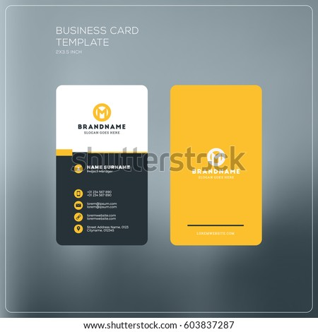 Vertical Business Card Print Template Personal Stock Vector - Personal business cards templates