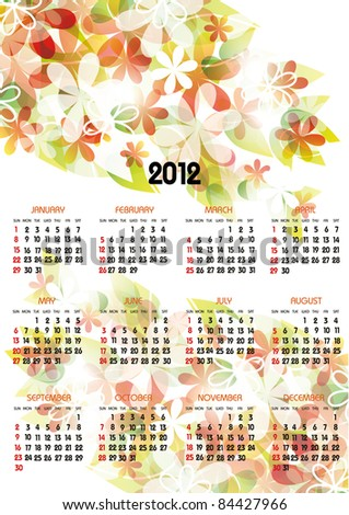 vertical calendar 2012 year with flowers - stock vector
