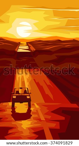 Vertical cartoon illustration road with car at sunset. - stock vector