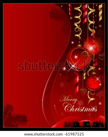 Vertical Christmas background greeting card - stock vector