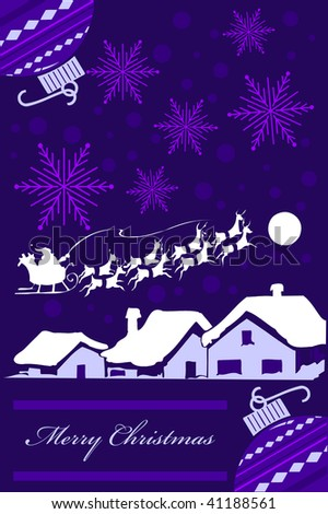 Vertical Christmas card design in purple tones. vector Illustration. No Gradients were used, very easy to edit. - stock vector