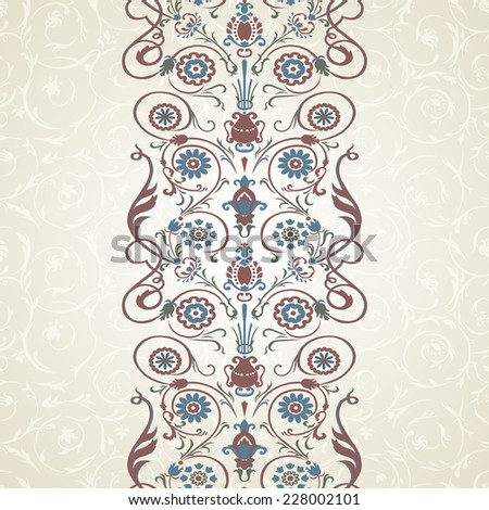 Vertical  colorful arabesque on seamless background.  - stock vector