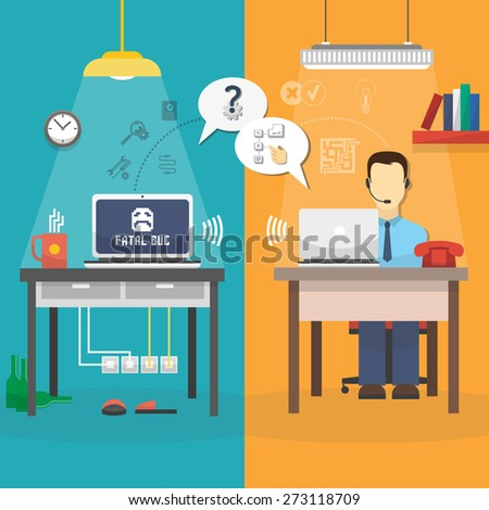Vertical customer support center via phone mail operator service composition vector illustration - stock vector