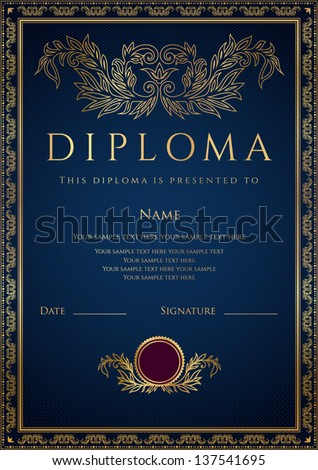 Vertical dark blue Diploma / Certificate  (template) with guilloche pattern (watermarks), golden floral border. Background design usable for invitation, gift voucher or awards. Vector - stock vector