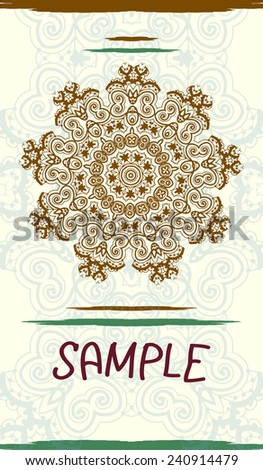 Vertical design wedding invitation card based on traditional tribal mehndi henna art. Vintage decorative elements. Hand drawn background. Indian motif. Hindustani design. Flayer design - stock vector