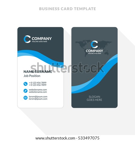 Vertical doublesided business card template vector stock vector vertical double sided business card template blue and black colors flat design vector wajeb Image collections