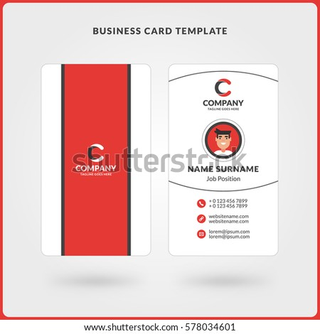vertical doublesided business card template red stock vector 578034601 shutterstock. Black Bedroom Furniture Sets. Home Design Ideas