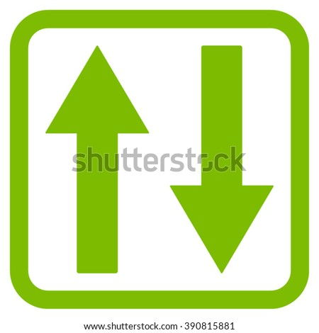 Vertical Flip Arrows vector icon. Style is flat symbol in a rounded square frame, eco green color, white background.