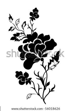 Vertical flower pattern, rose, tattoo - stock vector