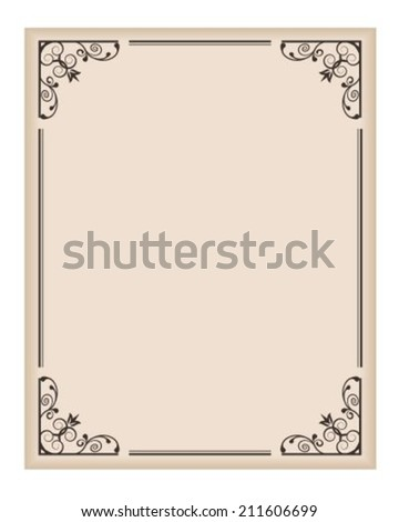 vertical frame with patterned corners on a light background - stock vector