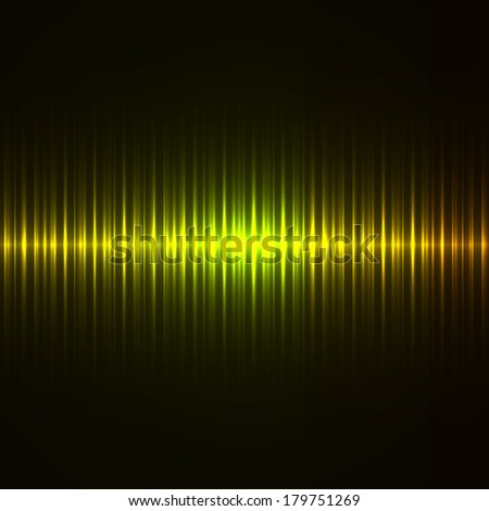 Vertical green and yellow lights dark vector background.
