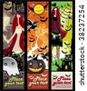 Vertical Halloween grunge banners with witch, zombie, pumpkin, skull, bat, spiders, raven, tree, ghost, house. - stock vector
