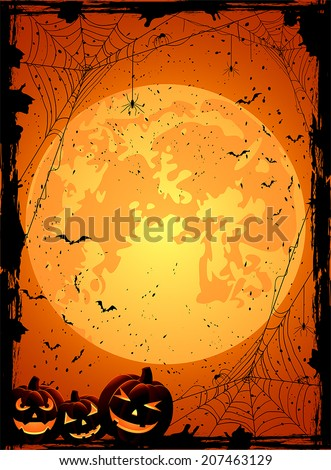 Vertical Halloween night background with Moon, spiders and Jack O' Lanterns, illustration. - stock vector