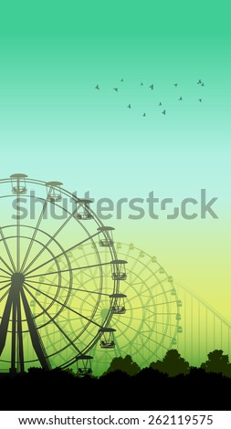 Vertical illustration of roller-coaster and Ferris Wheel from amusement park.  - stock vector