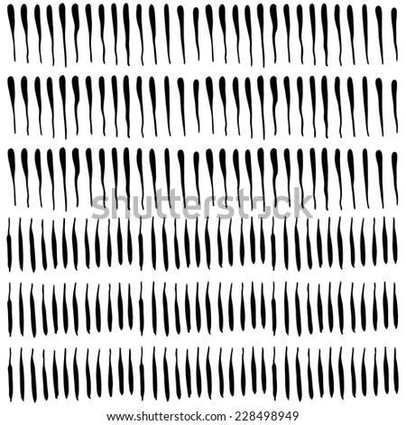 Vertical ink strokes with varying thickness. Ink hand drawn texture. Hatching drawn with pen. Abstract background. Vector design elements - stock vector