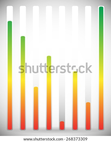 Vertical level indicator set with color code (Green at high level) - stock vector