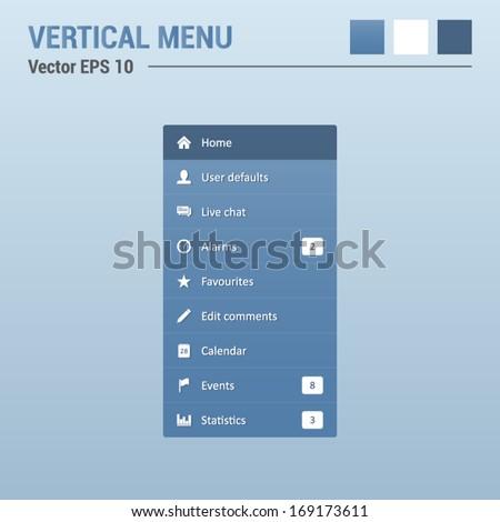 Vertical menu navigation - website elements - web design UI - stock vector