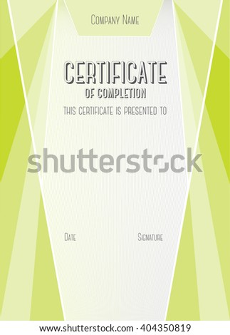 Vertical Modern Certificate of completion. EPS10 vector template - stock vector