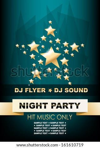 Vertical music background with golden stars and text. Vector version. - stock vector