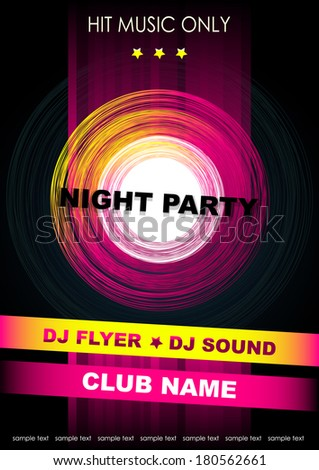 Vertical music background with graphic elements and place for text.  Vector version. - stock vector