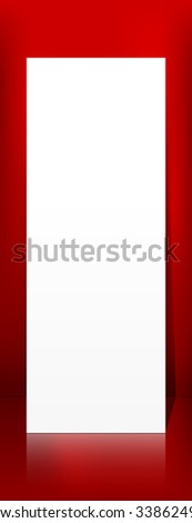 Vertical Panorama Blank White Vector Paper Panel on Red Background Template - Empty Christmas Season  Greeting Card Backdrop for Your Own Design. XMas - X-Mas, Billboard, Placard Advertising Space. - stock vector