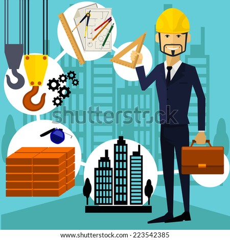 Vertical portrait of a happy architect constructor worker at his work place with tools for drawing - stock vector