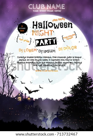 Vertical poster halloween night party invitation stock vector vertical poster halloween night party invitation template halloween landscape black forest full stopboris Choice Image