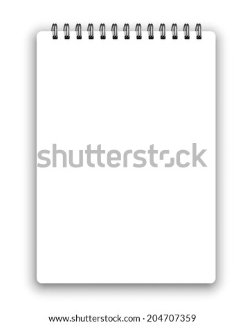 Vertical realistic spiral notepad notebook isolated on white vector - stock vector