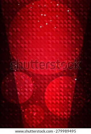 Vertical red music party mosaic background with sequins and stars.  Vector illustration. - stock vector