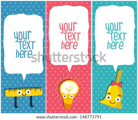 Vertical School banners or Bookmarks. ruler, bulb, bell characters - stock vector
