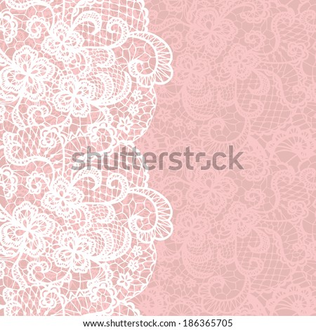 Vertical seamless background with a floral lace ornament - stock vector