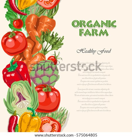 Vertical seamless background with colored vegetables. Vector illustration for your design
