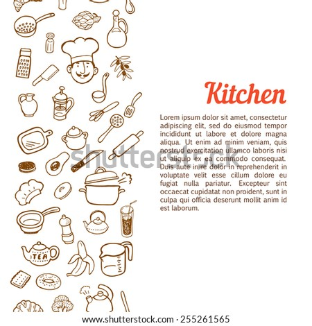 Vertical seamless background with hand drawn kitchen set. - stock vector