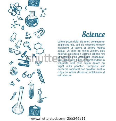 Vertical seamless background with hand drawn science and chemistry icons. - stock vector