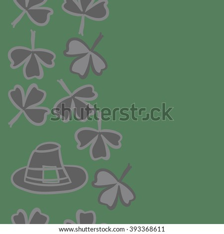 Vertical seamless pattern of patrick's day,  ireland,doodles,leaves,clover,spring,symbol,irish,shamrock, hats, copy space . Hand drawn.