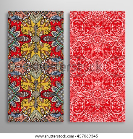 Vertical Seamless Patterns Set Floral Geometric Vector – Ethnic Birthday Cards
