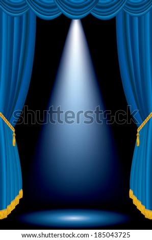 vertical spot on blue stage - stock vector