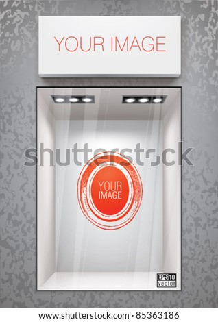Vertical storefront with signboard. Place for a product or image - stock vector