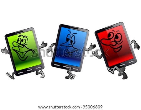 Vertical Tablet computer in the form of little people. Rasterized version also available in portfolio. - stock vector