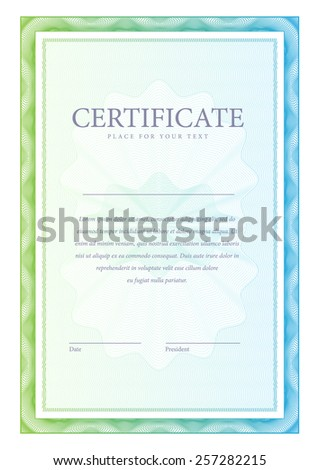 vertical Template certificate and diplomas, currency. Vector - stock vector