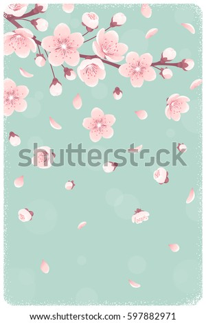 Horizontal Template Cherry Blossom Spring Flowers Stock Vector ...