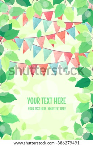 Vertical template with fresh green spring leaves and multicolored party flags. Retro vector illustration. Bokeh background. Place for your text. Design for invitation, banner, card, poster, flyer - stock vector